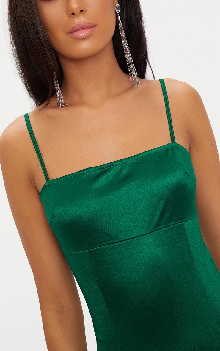 Emerald Green Straight Neck Strappy Satin Bodycon Dress  5