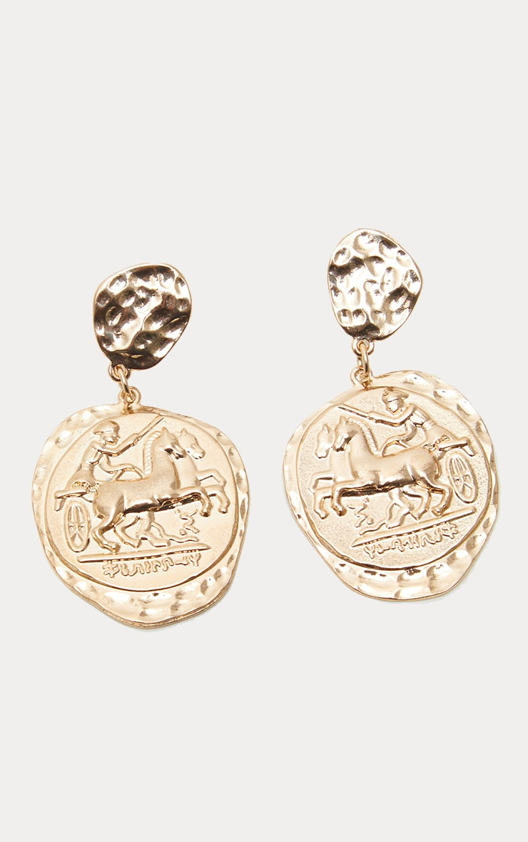 Gold Egyptian Hammered Coin Earrings 2