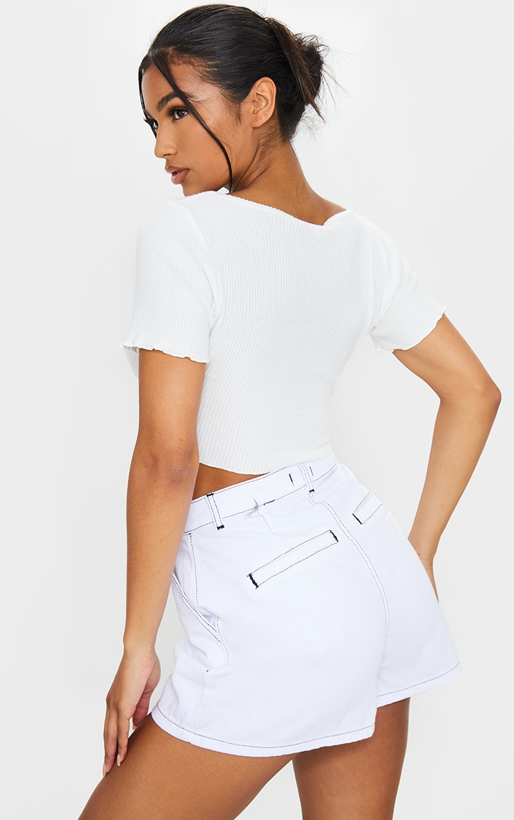 White Brushed Rib Button Front Short Sleeve Crop Top 2