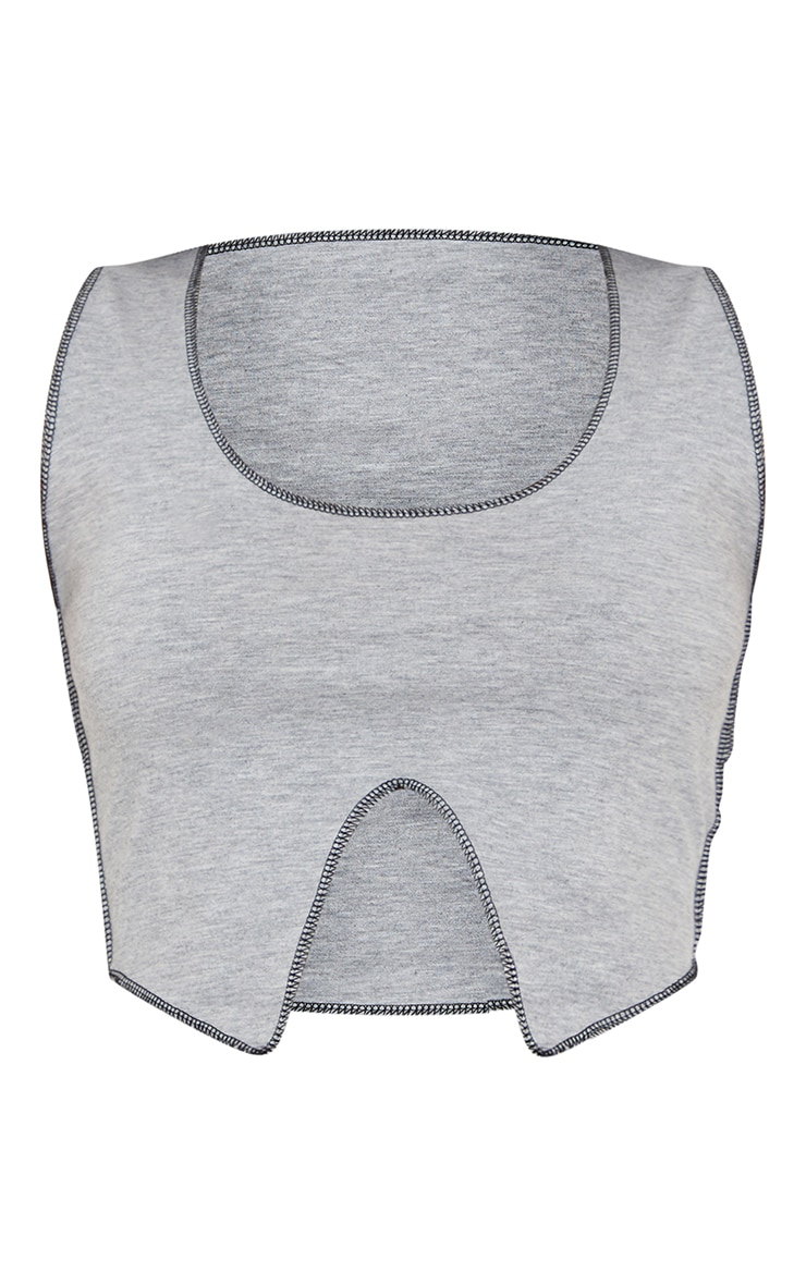 Grey Contrast Stitch Detail Sleeveless Crop Top 5
