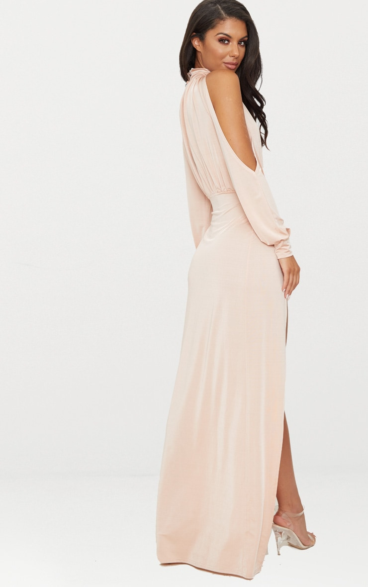 Nude High Neck Double Extreme Split Maxi Dress 2
