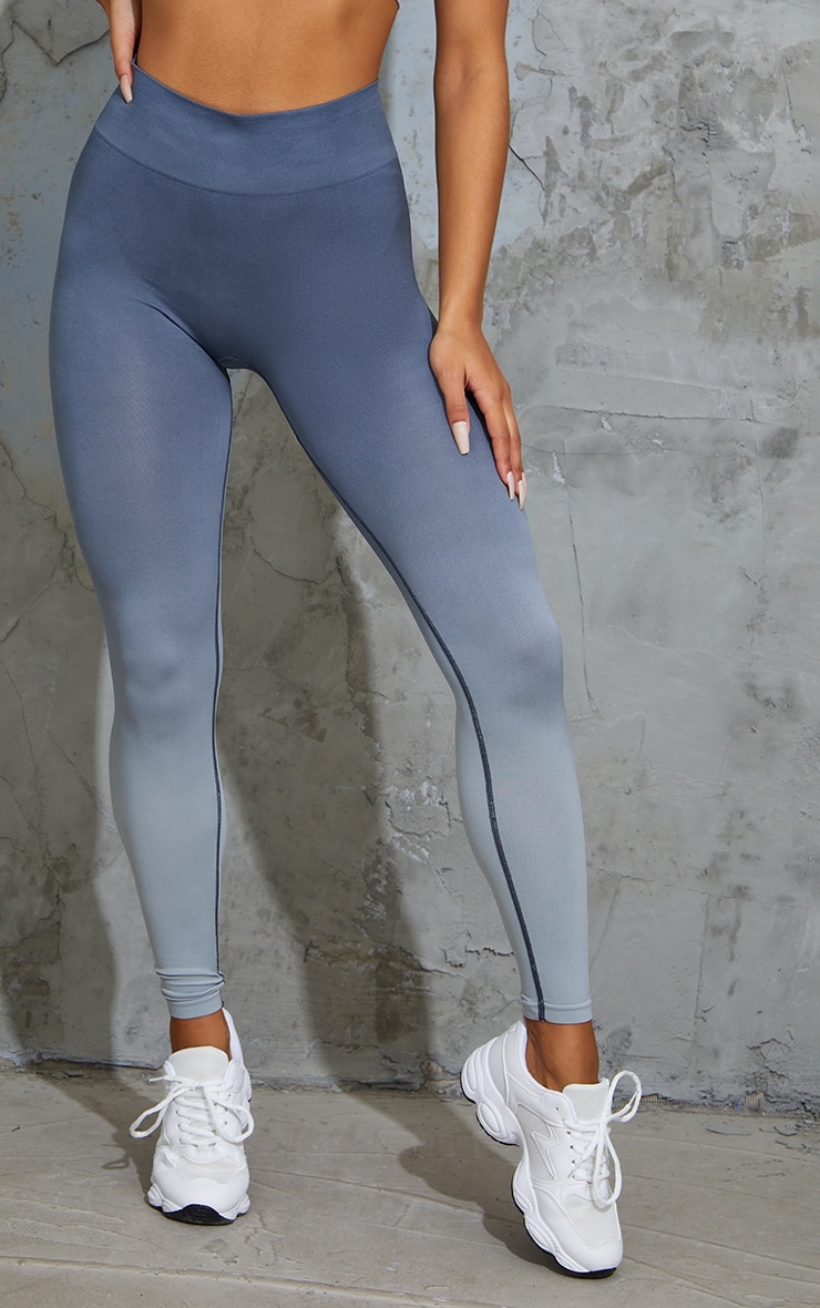 Blue Seamless Ombre Leggings 2