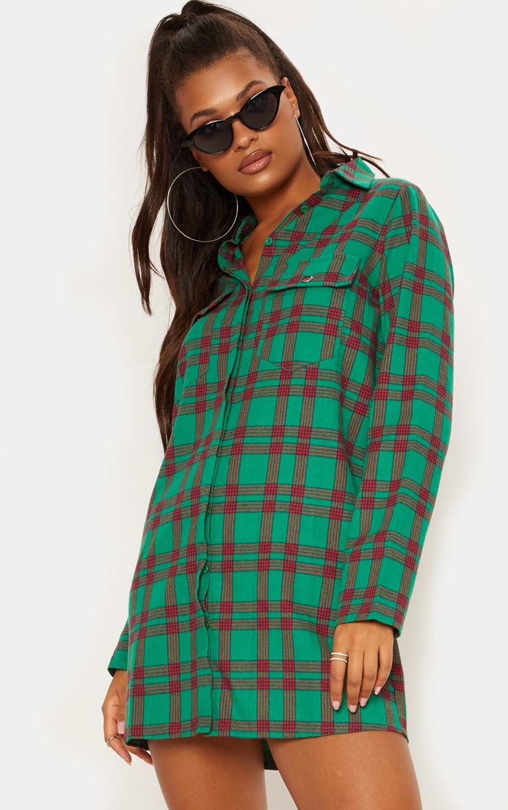 Green Oversized Check Shirt Dress