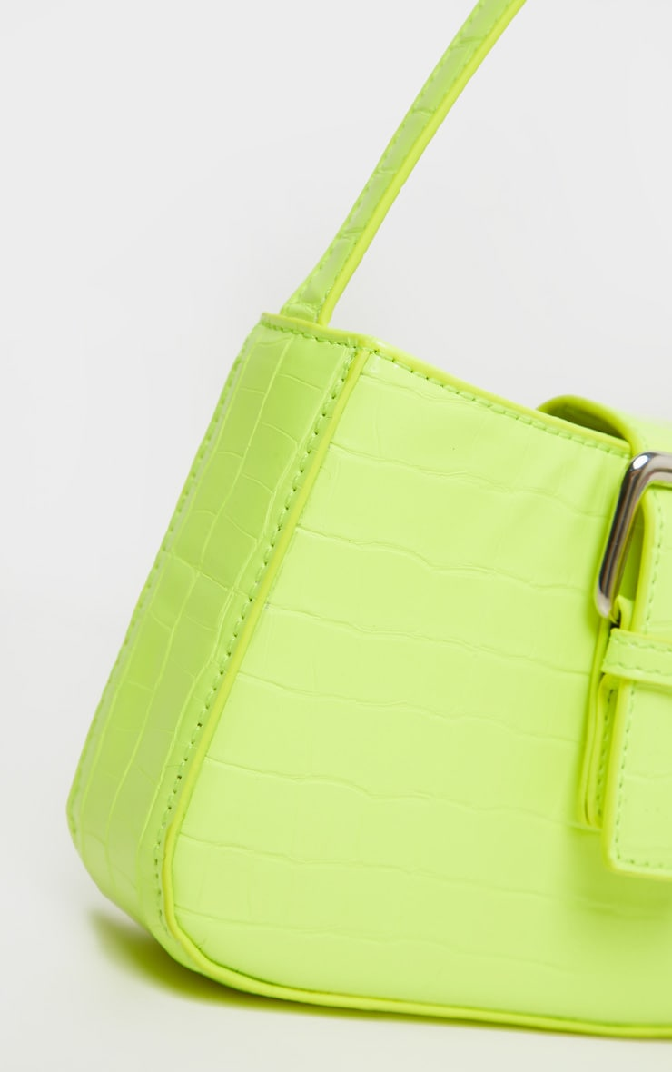 Lime Croc Buckle Front Shoulder Bag 5