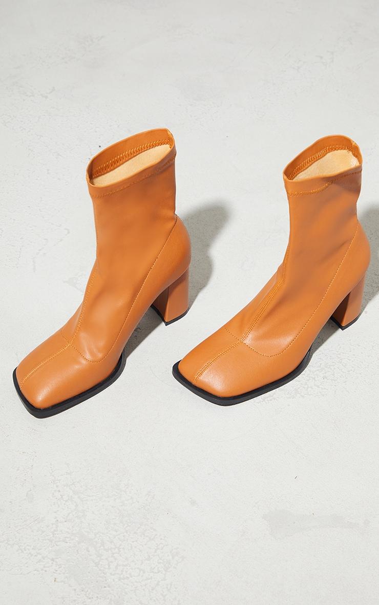 Camel PU Toe Edge Square Toe Heeled Ankle Sock Boots 3