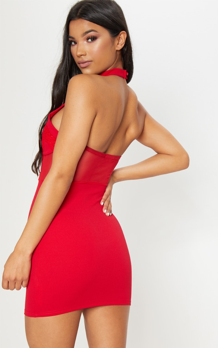 Red Lace Trim High Neck Sheer Top Bodycon Dress  2