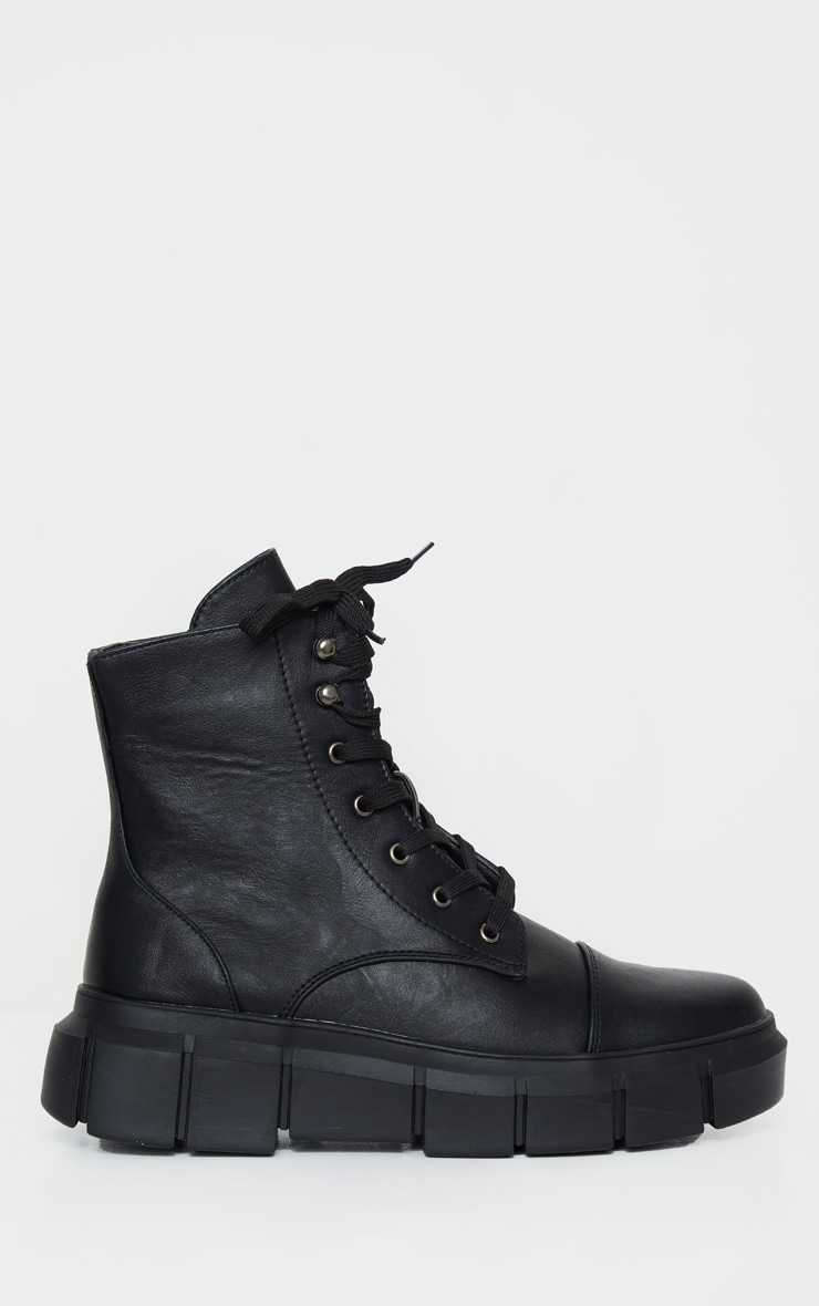 Black High Ankle Lace Up Chunky Boot 4