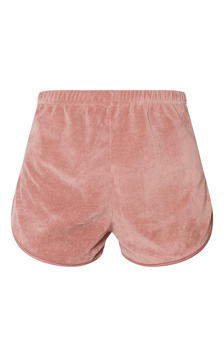 Dusty Pink Runner Velour Shorts 6