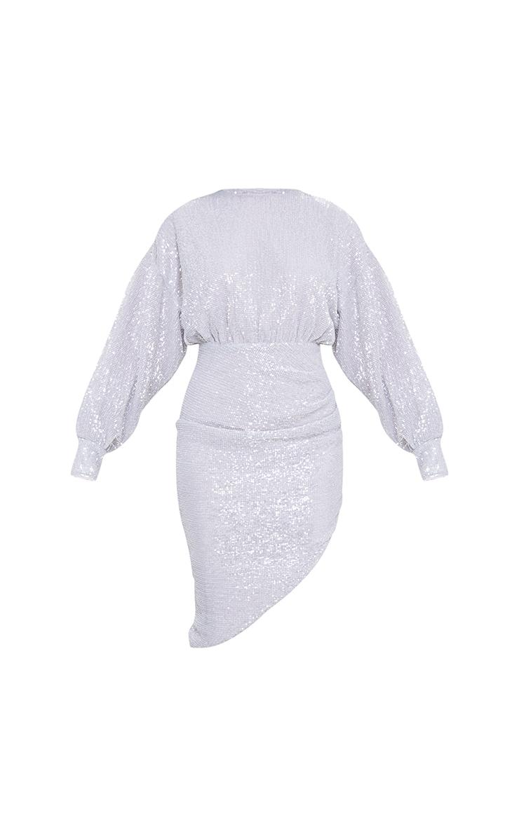 Silver Sequin Open Back Balloon Sleeve Midi Dress 5