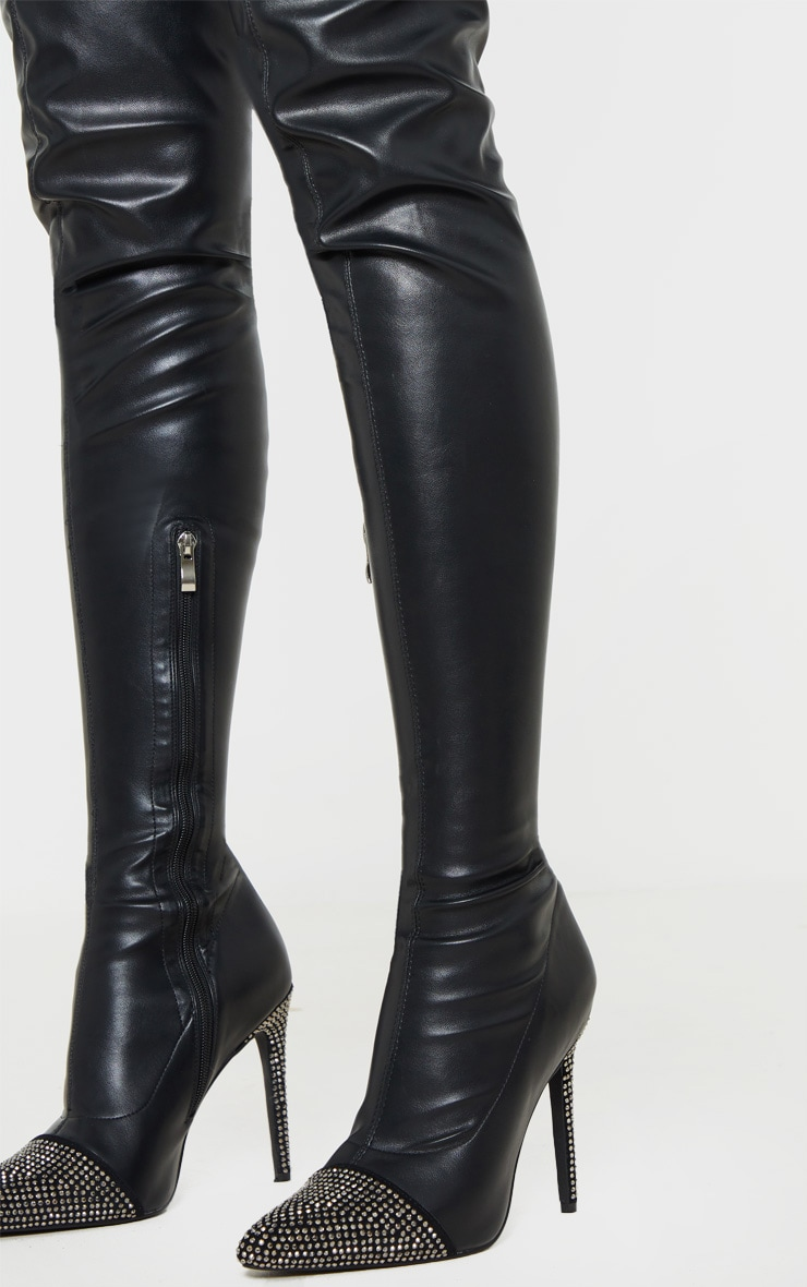 Black Diamante Embellished Thigh High Sock Boot 3