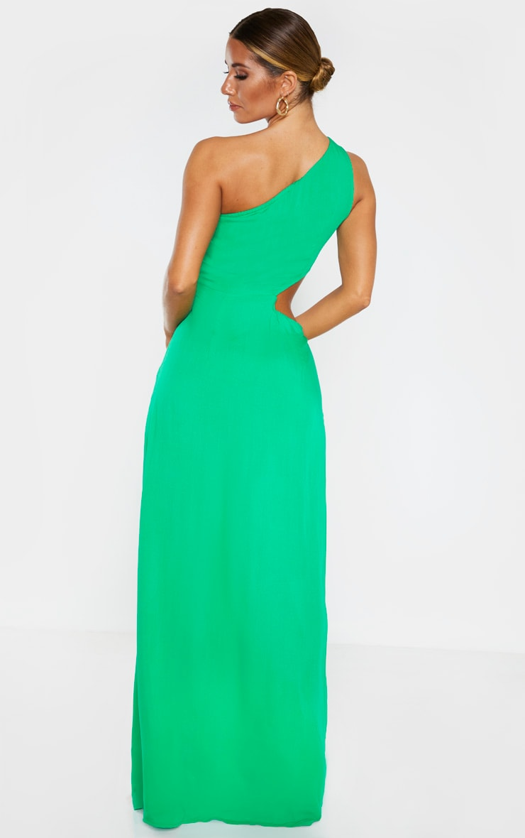 Green One Shoulder Cut Out Knot Detail Split Leg Maxi Dress 2