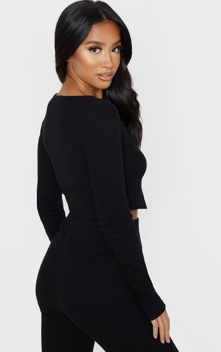 Petite Black Ribbed Split Front Long Sleeve Top 2