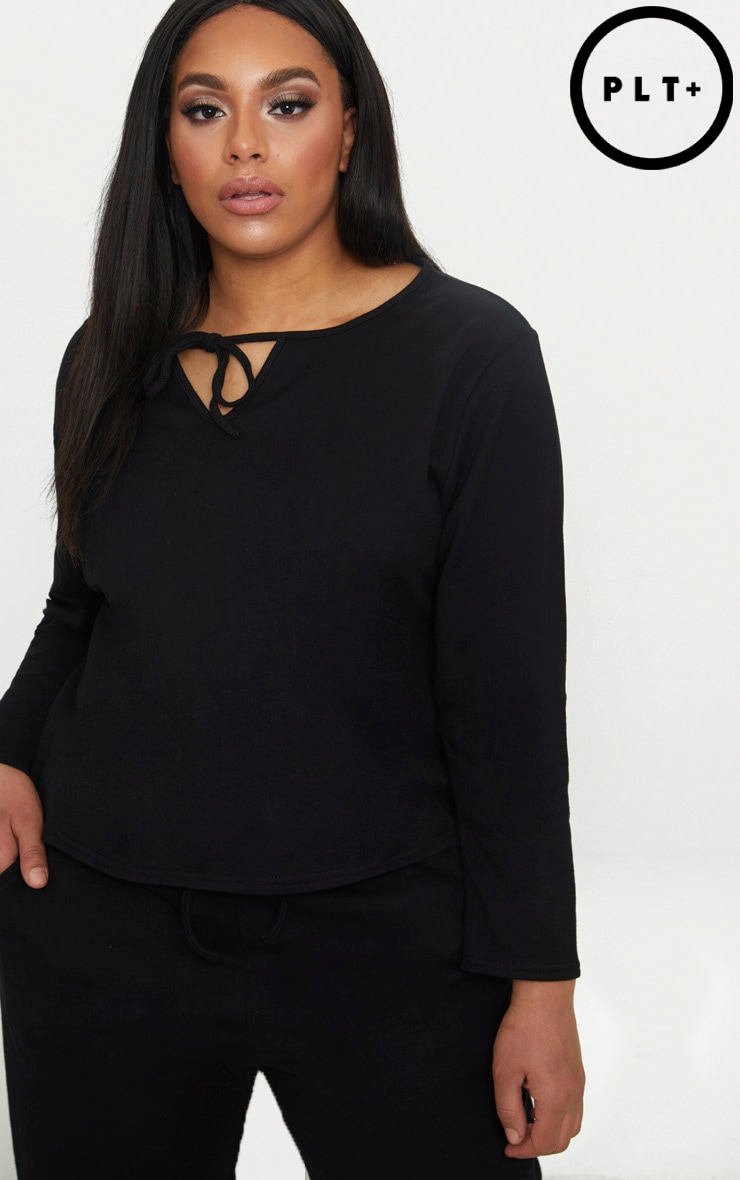Plus Black Tie Detail Sweater 1