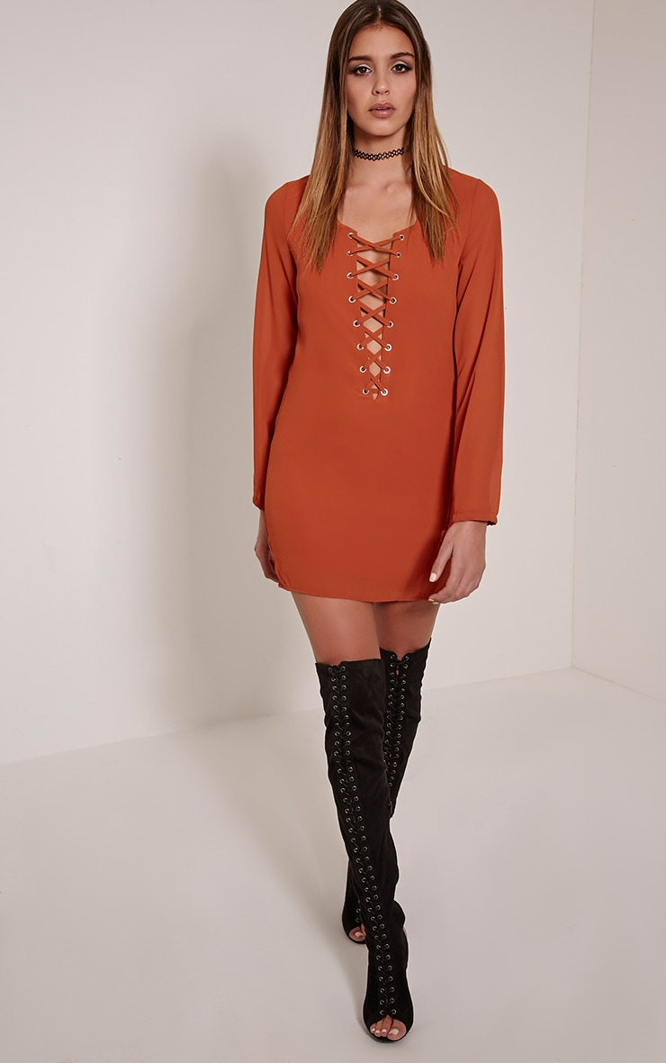 Pammy Rust Lace Up Front Shift Dress 3