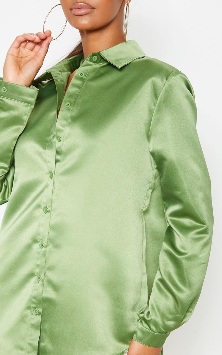 Olive Khaki Satin Button Front Shirt  5