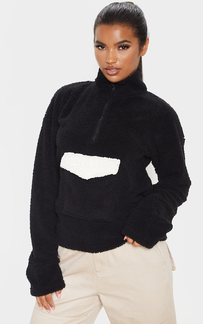 Black Borg Pocket Zip Front Oversized Sweater