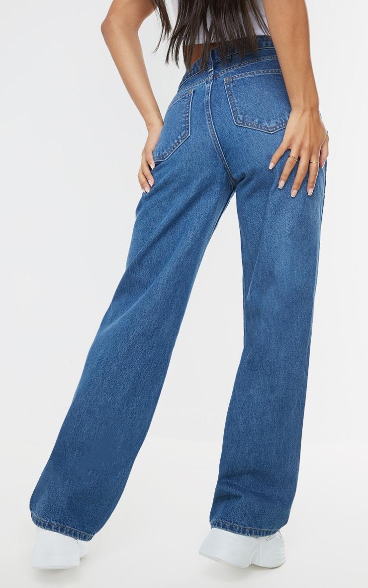Mid Blue Wash Asymmetric Waist Wide Leg Jeans 3