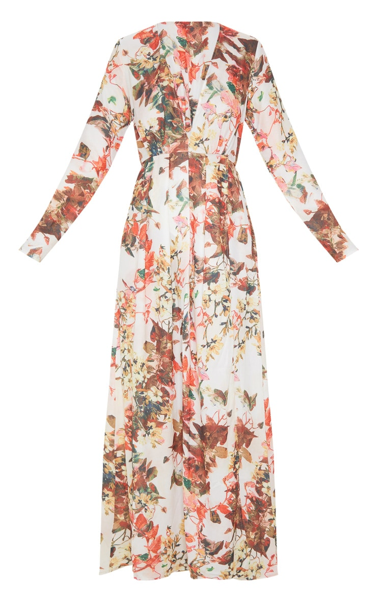 Floral Print Plunge Long Sleeve Maxi Dress 3
