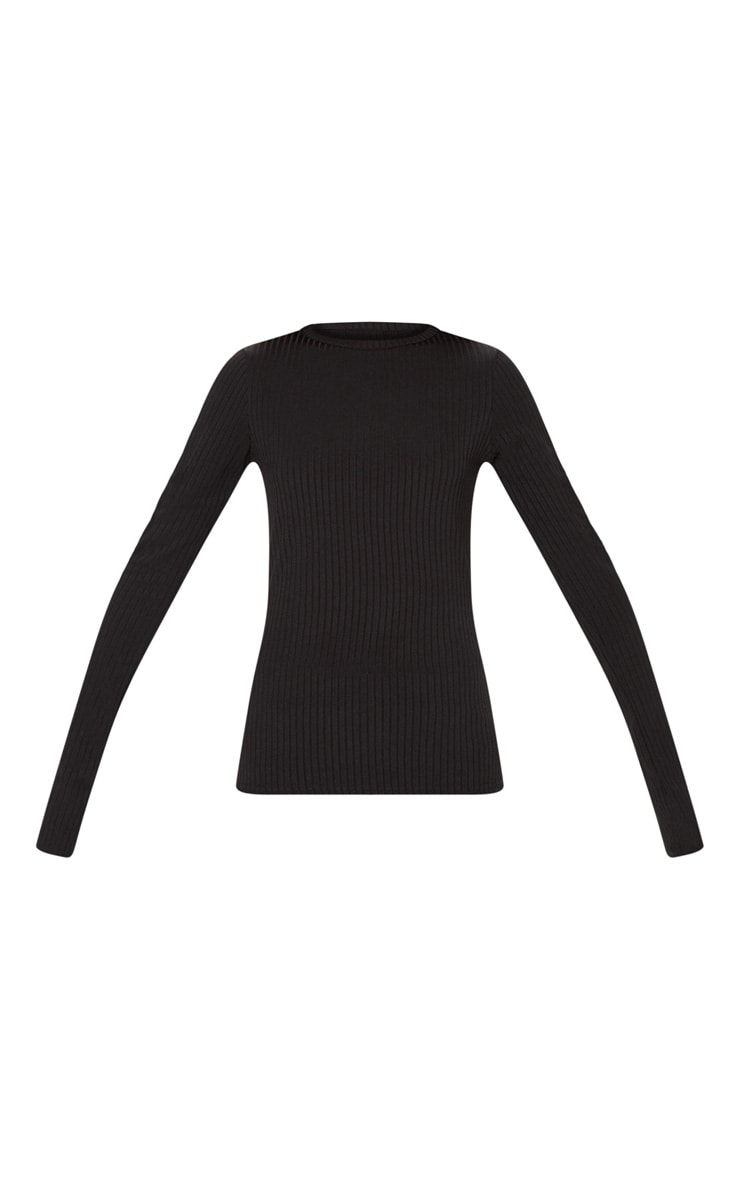 Black Rib Crew Neck Long Sleeve Top 3