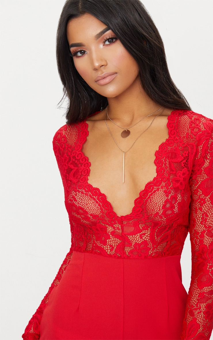 Red Lace Long Sleeve Plunge Playsuit 5