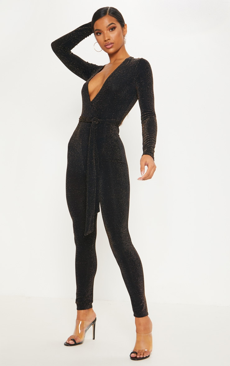 Black Textured Glitter Tie Waist Jumpsuit 4