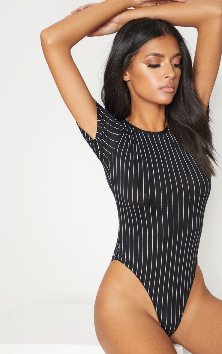 Black Jersey Pinstripe Short Sleeve Bodysuit 2