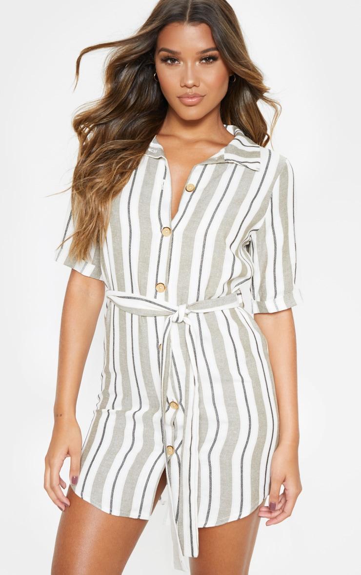 Khaki Woven Stripe Button Through Shirt Dress 4