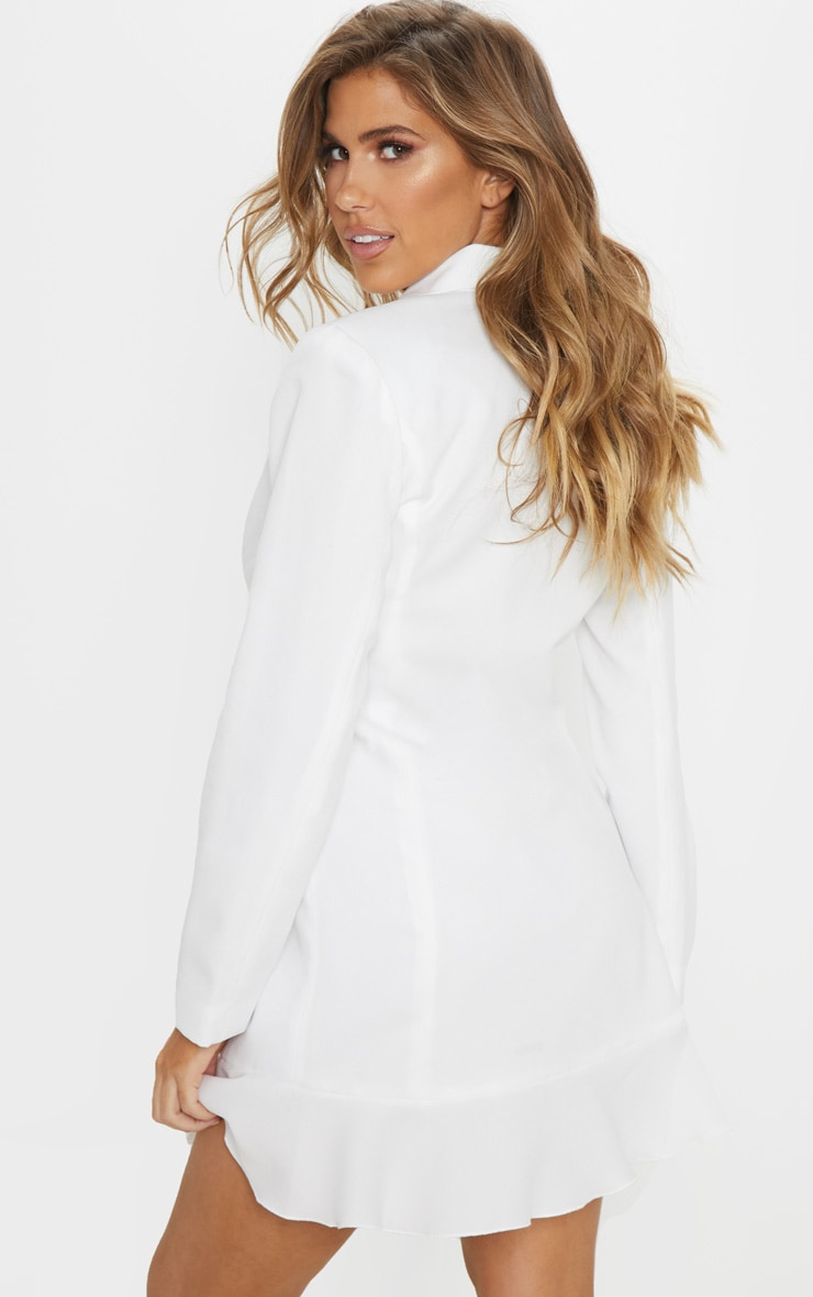 White Frill Detail Blazer Dress 2