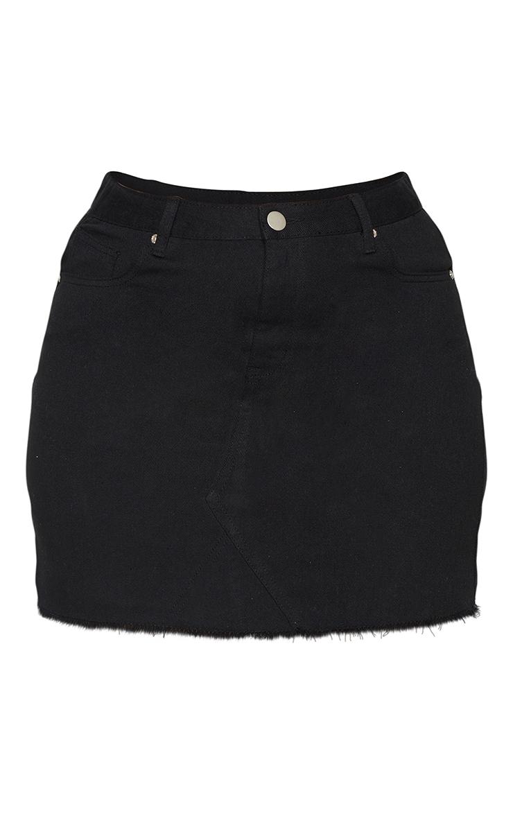 Plus Basic Black Denim Skirt 6