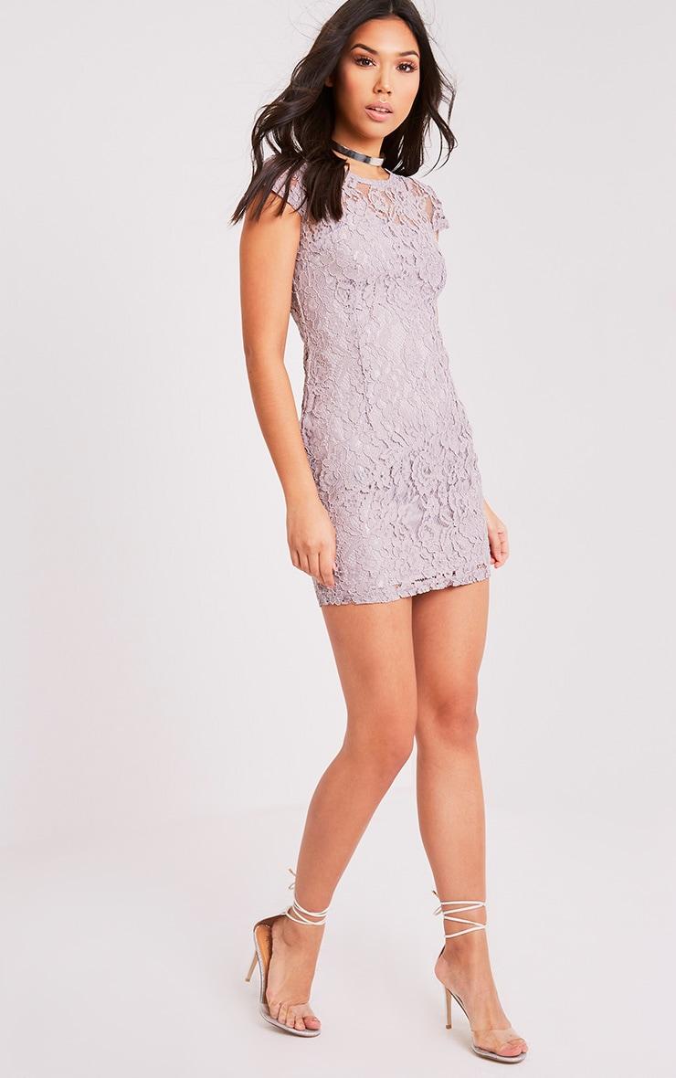 Natasha Ice Grey Lace Cap Sleeve Bodycon Dress 5