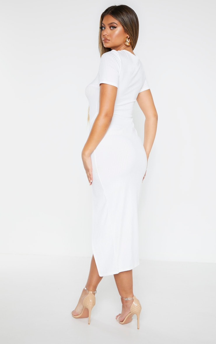 Cream Ribbed Short Sleeve Split Midaxi Dress 2