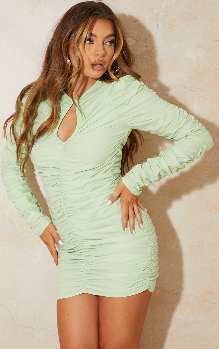 Sage Green Woven Ruched Keyhole Cut Out Long Sleeve Bodycon Dress