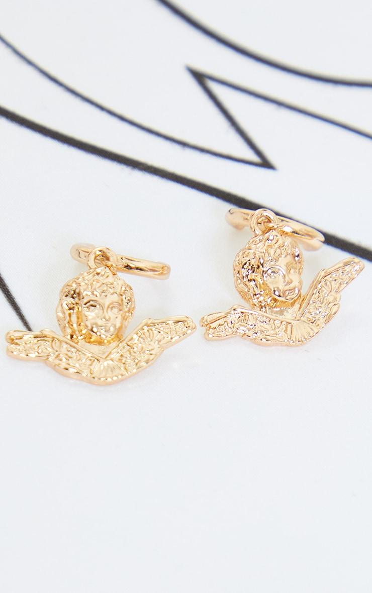 Gold Mini Cherub Hoop Earrings 3