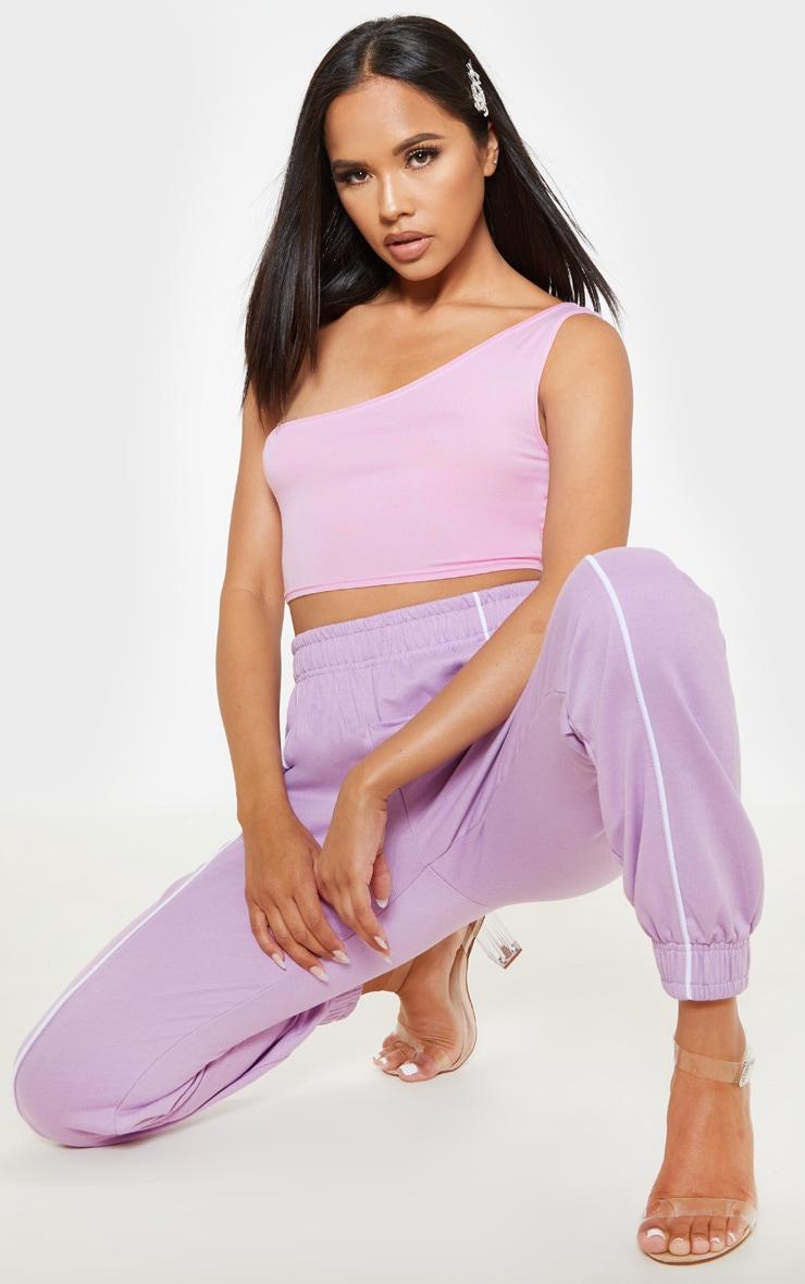 Baby Pink Basic Jersey One Shoulder Crop Top 4