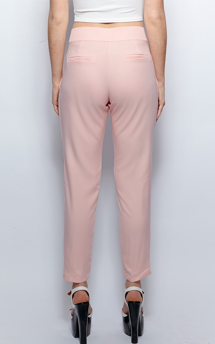 Breanna Pink Tailored Linen Trousers 2