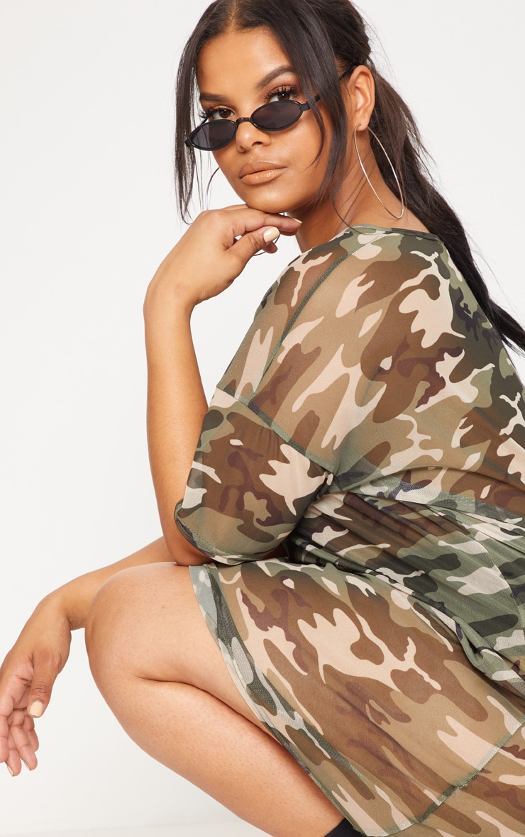 Plus Khaki Camo Mesh Dress 5