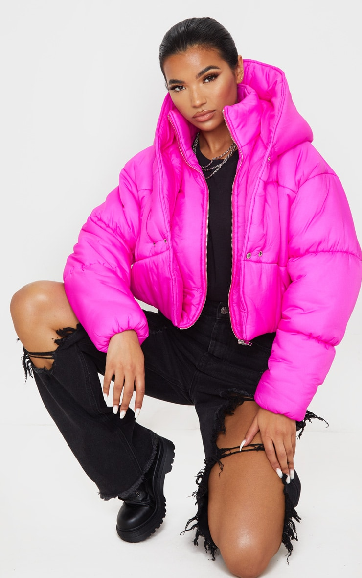 Hot Pink Double Layer Cropped Hooded Puffer 1