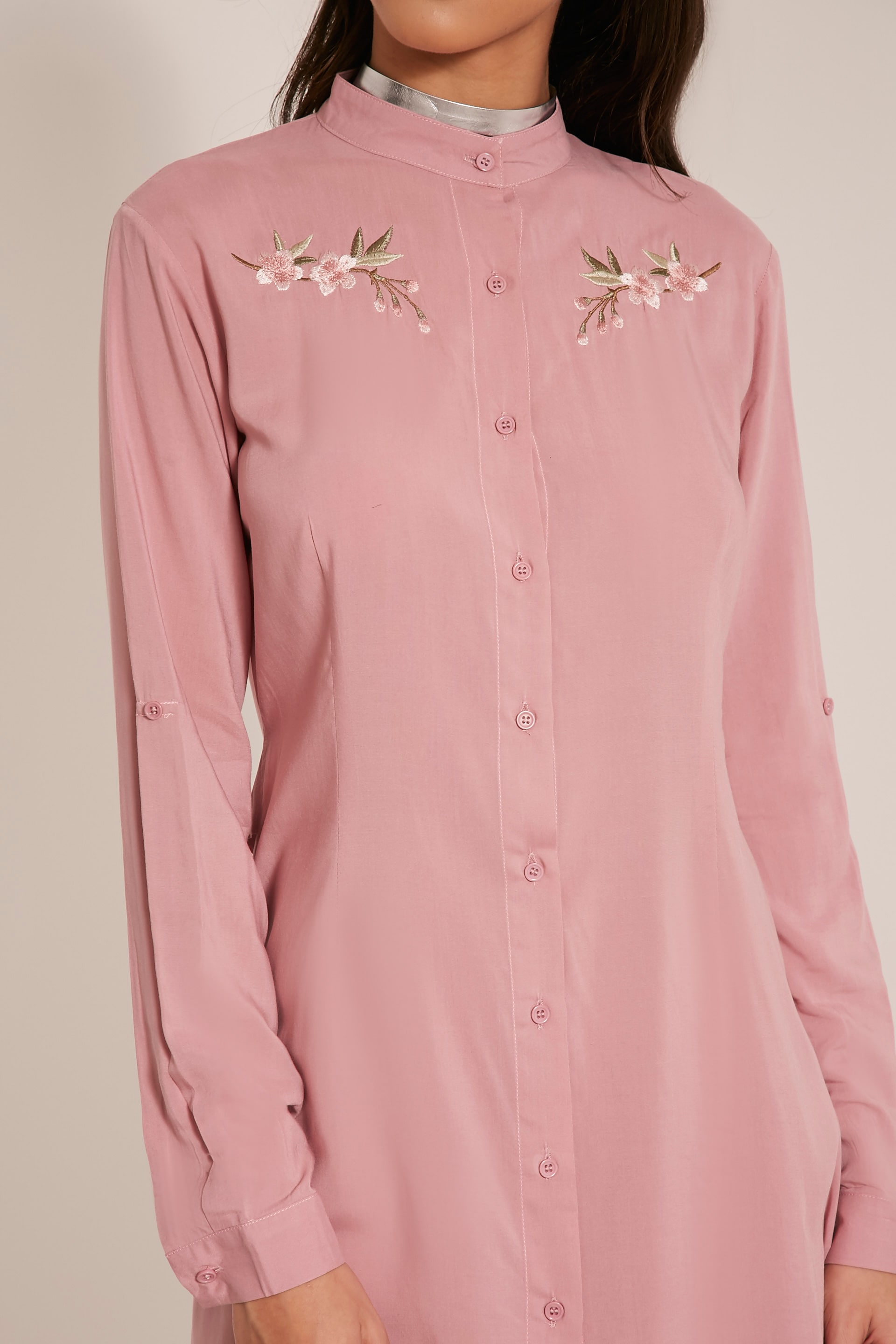 Isla Dusty Pink Floral Embroidered Shirt Dress 6