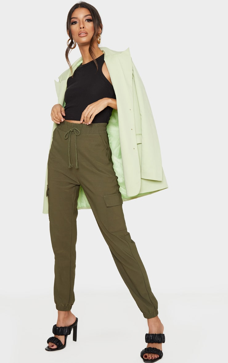 Khaki Cargo Pocket Pants 1