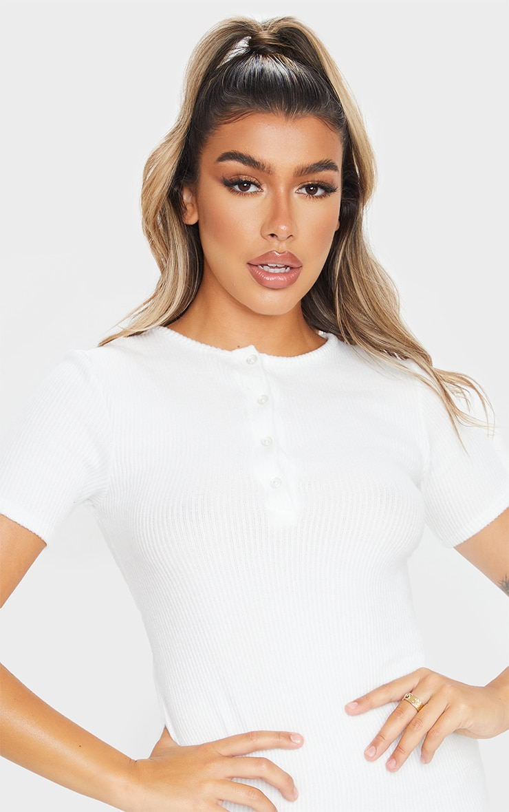 White Brushed Rib Short Sleeve Button Front Bodycon Dress 4