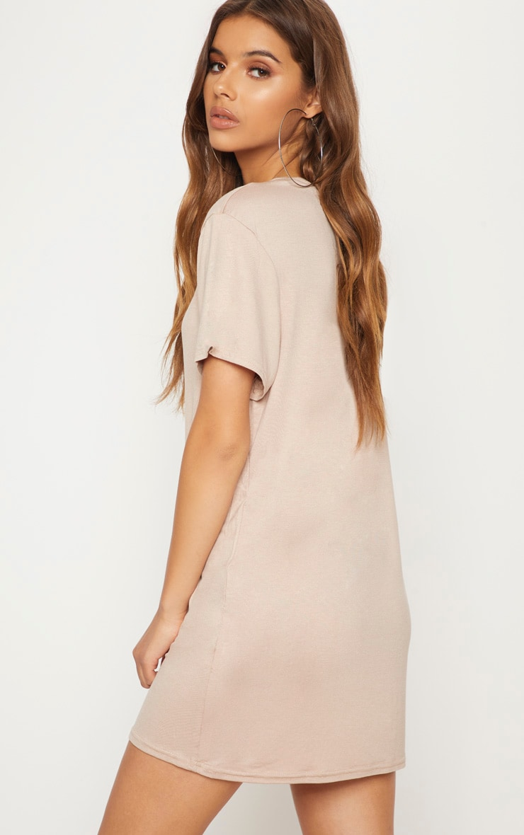 Basic Nude Short Sleeve T Shirt Dress 2