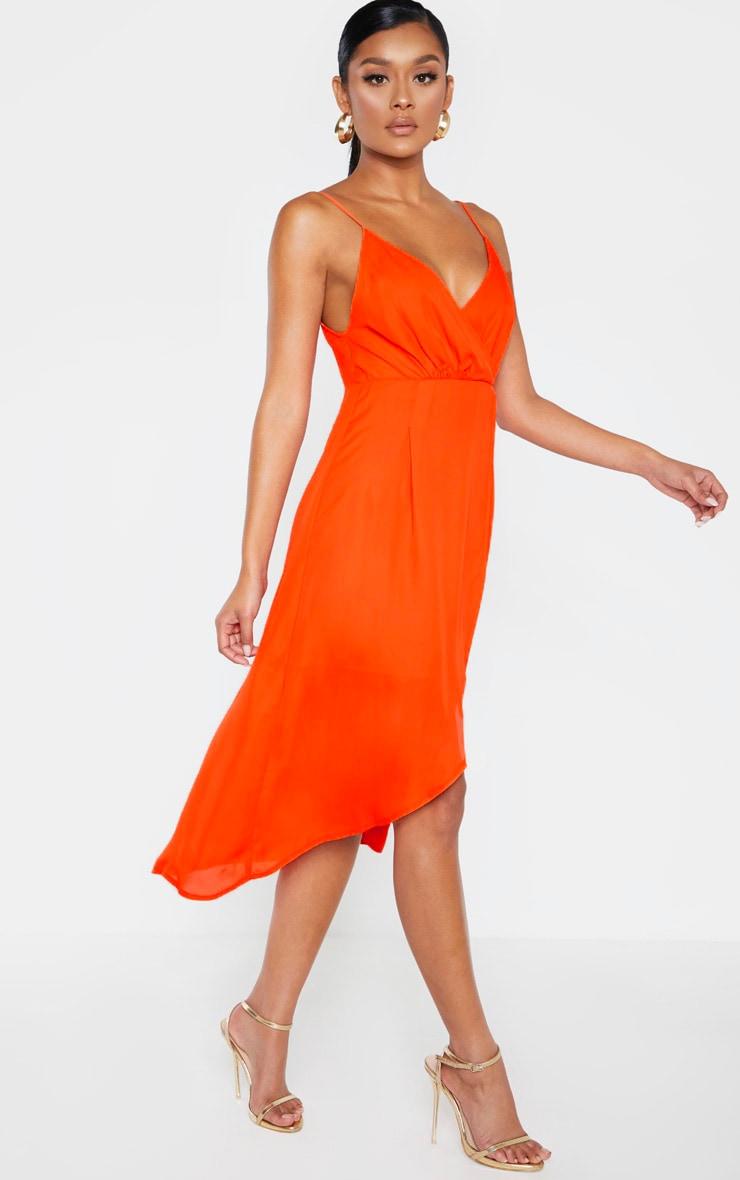 Bright Orange Chiffon Wrap Midi Dress 1