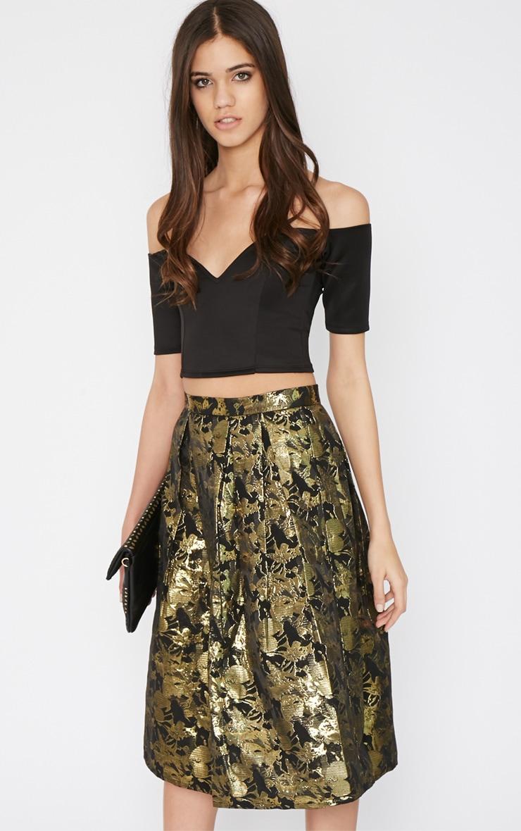 Iva Gold Floral Print A Line Skirt -12 1