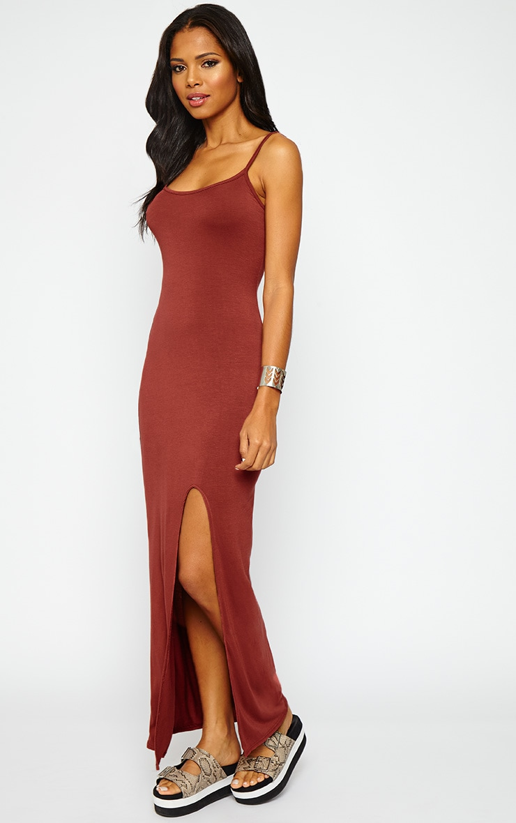 Aurelia Rust Front Slit Cami Maxi Dress 4