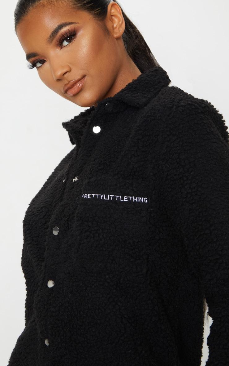 PRETTYLITTLETHING Black Embroidered Borg Shirt Dress 4