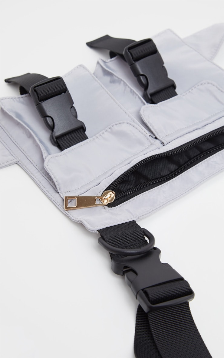 Grey Nylon Double Pocket Front Harness Bag 2
