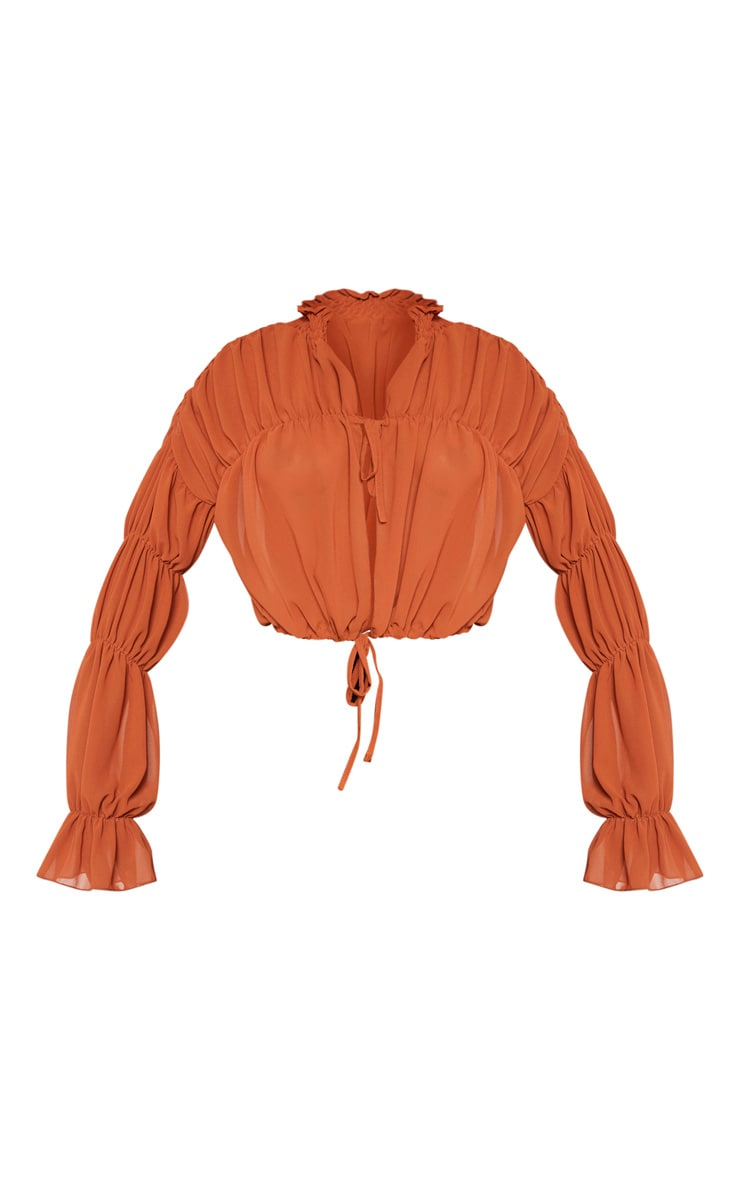 Rust Sheer Ruched Tiered Blouse 3