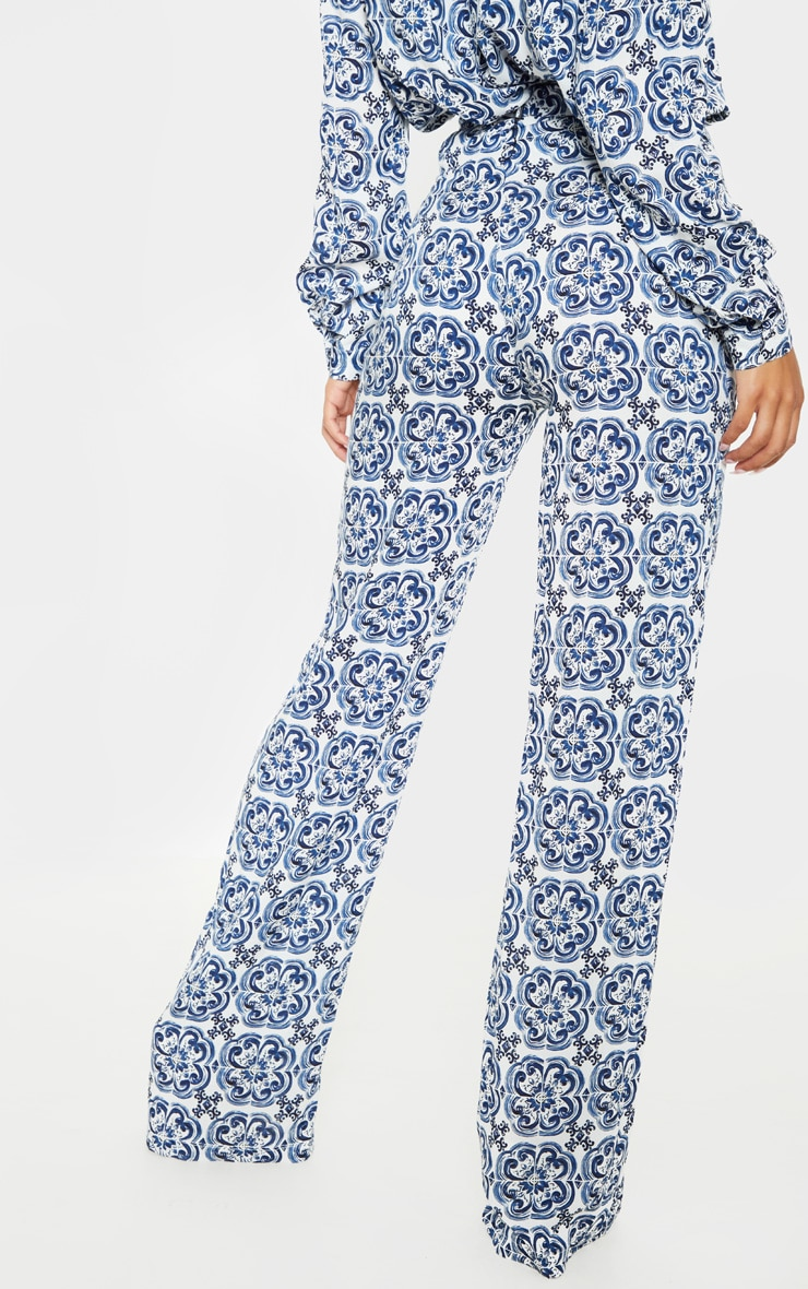 White Wide Leg Trouser Floral Pants 4