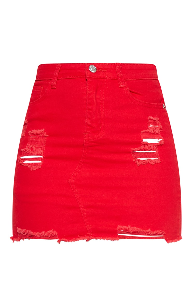 Red Distressed Denim Stretch Skirt 3