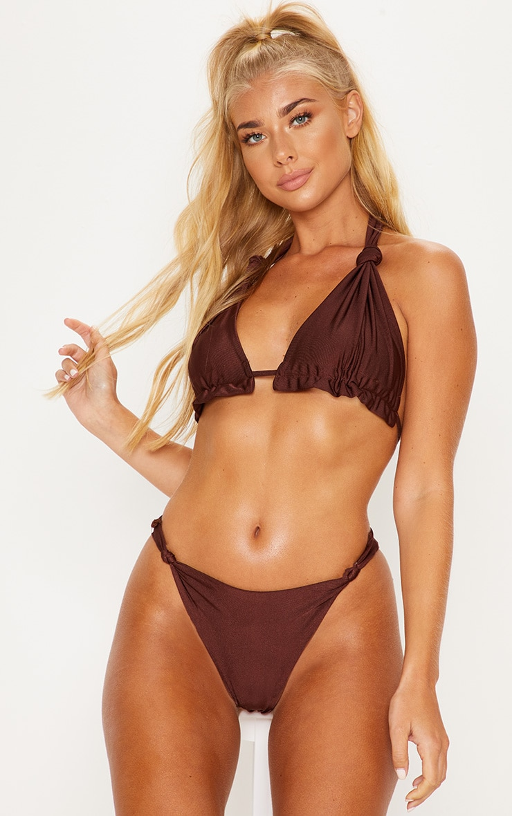 Chocolate Knotted Ruched Triangle Bikini Top